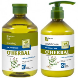 O'herbal,Shampoo And Conditionner For Greasy Hair With Mint Extract, 500ml