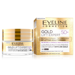 Eveline, Gold Lift Expert, Luxurious Multi-nourishing Cream Serum With 24K Gold 50+ Day/Night